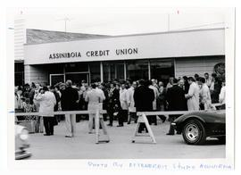 Assiniboia Credit Union building, possibly at its opening--many people in front of building