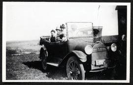 A. N. Bourassa family in first automobile purchased in Lafleche