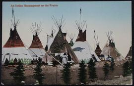 An Indian encampment on the prairie
