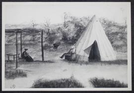 A sketch (copy) of a camp on the haying field, Battle River flats