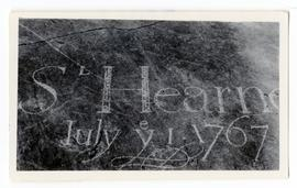 """S L Hearne, July ey 1 1767"" carved on a rock--possibly near Prince of Wales' Fort(?)"