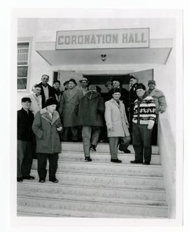 Farmers, etc. on the steps of Coronation Hall, Yorkton