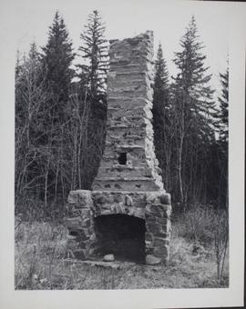 Fireplace chimney remains of former RCMP residence at Lac la Ronge
