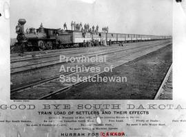 A trainload of settlers and their effects arriving at Winnipeg from South Dakota, bound for Yorkton
