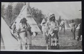 Indian Chief and wife at camp near Banff