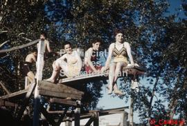 View of 5 young people on diving board