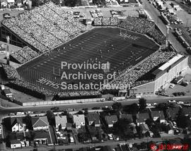 Aerial view of a football game at Taylor Field, taken from the west side.