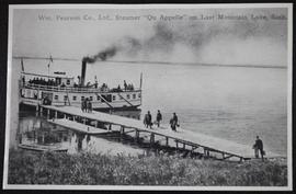 """Qu'Appelle"" at Arlington Beach wharf, passengers walking along wharf to boat"