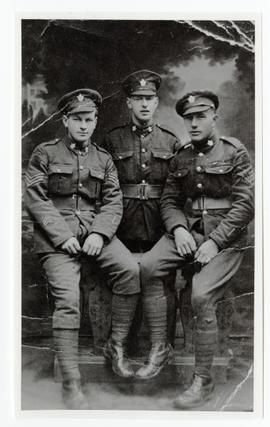 "Sgt. D.S. McKercher, Sgt. Punch Sylvester and Sgt. ""Skinny"" Edwards of the 46th Battalion"