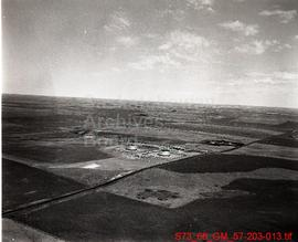 Aerial view of the pumping station and storage tanks at Cantaur, Saskatchewan