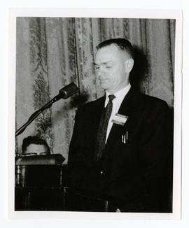 Jim Clarke speaking at the meeting between Prime Minister Diefenbaker and his cabinet and the Wes...