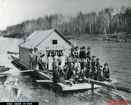 """Red Deer River drive""- cookhouse raft used by lumbermen."