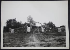 Stone and wood gate built by Henry Blanke