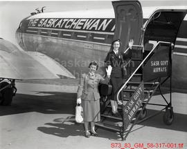 Girl Guide Commissioners Embarking Plane for Uranium City