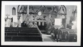 Battleford - St. George's Church interior, decorated for Thanksgiving