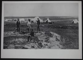 """Where Calgary now stands"" - three North-West Mounted Police (NWMP) officers and Indian..."