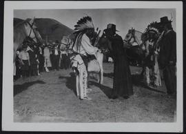 Lebret historical pageant - Father Hugonard presenting peace-offering to Indians