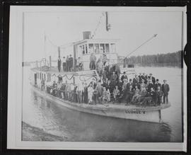 """George V"", small steamboat with party of men on board, inaugural run of city boat"