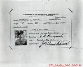 Identification card for I. William Berezowsky