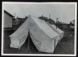 "A tent used for ""Old Timer's Meeting"""