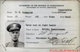 [Government employee identification card for T.P. Tornquist]