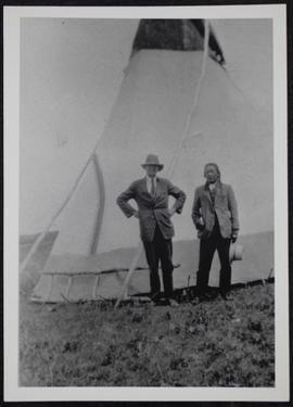 Cowesses Reserve Indian with a friend from Cotham district in front of a tent