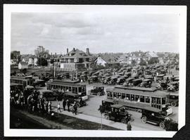 Street cars at Albert Street and College Avenue during visit of Prince of Wales